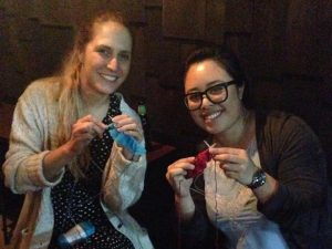 When I taught Julia and Maddi to knit. In the dark. Not very mindful...