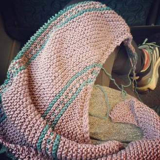 Knitting Drachenfels on the train